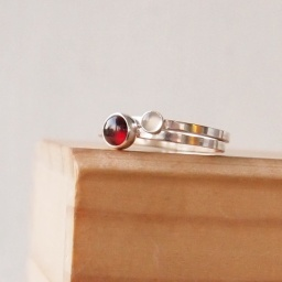 Garnet and Moonstone Double Birthstone Ring Set