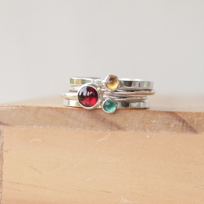 Garnet Citrine and Emerald Stacking Ring Set